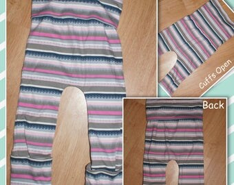 Maxaloones - Grow with Me - Lounge Pants - Comfy Pants - Leggings - Gray and Pink - Stripes