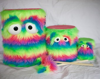 Kids Drum Set - Furry Rainbow Handmade Durable Eco-Friendly Fun Coolest Marching Drums Instruments For Kids