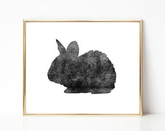 Bunny Rabbit Ink Texture Print, Black and White PRINTABLE Nursery Art, Instant Download Print, Black & White, Minimal Art Print, Modern Art