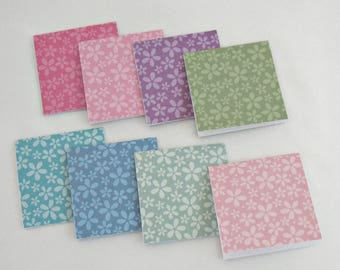 Mini Note Cards, 3x3 inch Square, Set of 8 Small Note Cards, Thank You Cards, All Occasion Note Cards, Floral Pastels