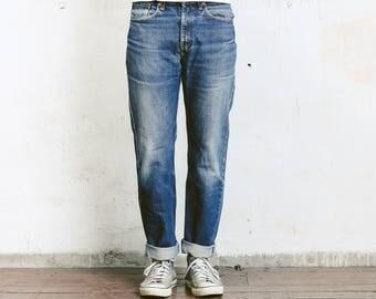 "Distressed Levis Jeans . Levi 751 02 Size 32"" Jeans Faded Dark Blue Boyfriend Jeans W32 Dark Wash Stonewashed Denim Blue Jeans 80s Jeans"