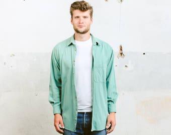 Mint Green Shirt . Vintage 90s Men's Shirt Cotton Long SLeeve Shirt Faded Top Summer Shirt Men's Clothing . size Medium