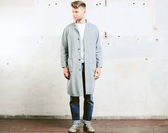 Mens WORK COAT . Chore Jacket Vintage Workwear Canvas 1970's Distressed Grey Outerwear Artist Mechanic Coat . size Large