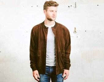 Suede BOMBER Jacket . Men's Leather Coat Oversized Dark Brown Button Down Flight Aviator Jacket Vintage 90s Outerwear . size Large