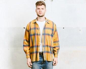 Vintage Plaid Shirt . Mens 90s Grunge Shirt Check Print Yellow Lumberjack Jacket Hispter Boyfriend Gift . size Extra Large XL