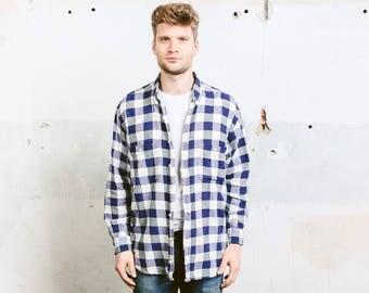 Vintage Plaid Shirt . Mens Flannel 90s Grunge Shirt Blue White Lumberjack Jacket Hispter Boyfriend Gift . size Extra Large XL