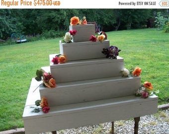 PICK ME SALE 5 tier cupcake stand / white wedding /wedding reception / wedding decorations / cake stand / table centerpiece / wooden cupcake