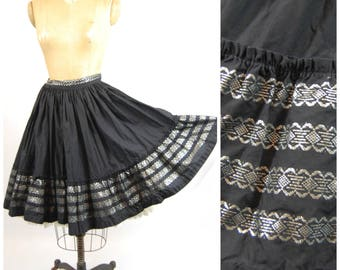 1950s Rockmount Western Skirt - 50s Rockabilly Skirt - Black and Silver Skirt - Dan River fabric