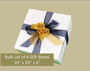 "Bulk Lot of 6 LARGE Gift Boxes 10"" x 10"" x 6"" for Stemmed Glasses, Wedding Favors, Accessories, Clothing, Groomsmen's Gifts"