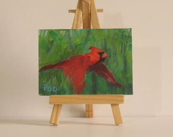 Cardinal painting, original  aceo, acrylic bird paintings,