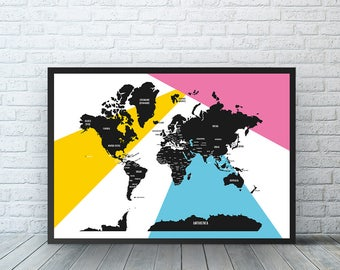 Black and White world map Decor, world map poster, large world map, Home Decor, gift for her, All the countries in the world, Travel Map