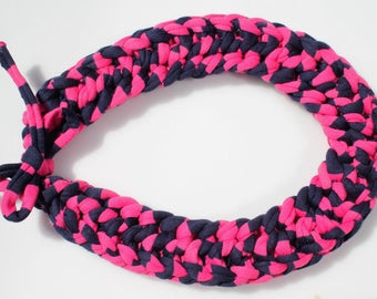 Knitted Cotton Cord Necklace - Chunky Necklace - Textile Necklace - T-Shirt Necklace - Cotton Jewelry - Textile Jewelry - Knitted Jewelry