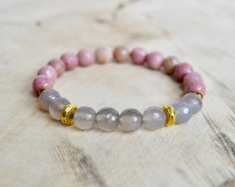 Rhodonite and Grey Agate Gemstone Bracelet