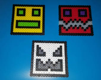 GEOMETRY DASH toy action figure any color custom Perler bead Art Birthday Cake topper red blue green yellow PERSONALIZED bath toy