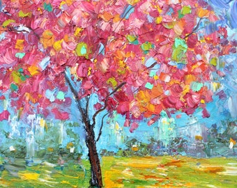 Spring Tree of Life painting original oil 12x12 abstract palette knife impressionism on canvas fine art by Karen Tarlton