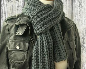 Men's Gray Knit Scarf - Battleship Grey Winter Scarf - Crochet Scarves - Ribbed