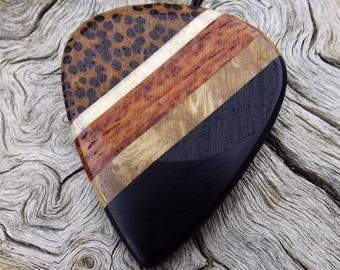 Handmade Multi-Wood Guitar Pick - Premium Quality -  Actual Pick Shown - Artisan Guitar Pick