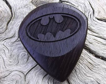 Wood Guitar Pick - Premium Quality - Handmade With East Indian Rosewood - Laser Engraved On Each Side - Actual Pick Shown