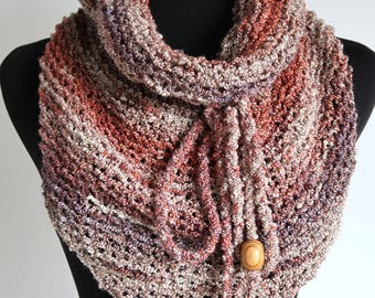 Light Beige Taupe Marled Melange Gray Brown Color Chunky Knitted Kerchief Wrap Mini Shawl Stole Scarf with Cord Ties and Wooden Beads