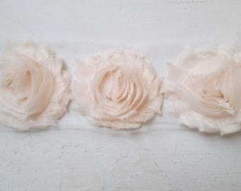 Blush Shabby Flowers, Blush Chiffon Rose Trim, Blush Pink Wedding Flower Supplies, DIY Fabric Flowers for Jewelry, Bridal Garters, Headband