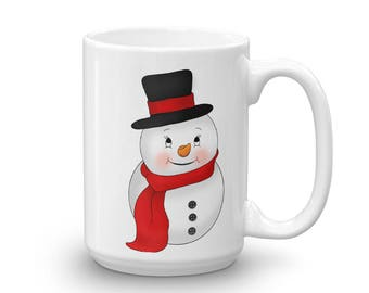 Christmas Gift Idea - Snowman Coffee Mug, Cup - Stocking Stuffer For Mom, Dad, Grandparents - Frosty Snowman - Custom Kids Christmas Gift