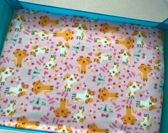 Pack and Play, pac n play fleece sheet with Kittens and ribbons