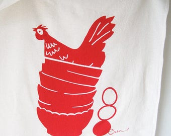 Red Hen in Bowls Tea Towel - READY TO SHIP