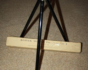 Vtg Kodak Metal Tripod No 1 Orig Box 1911 Telescopic Folding Legs Metal Tips