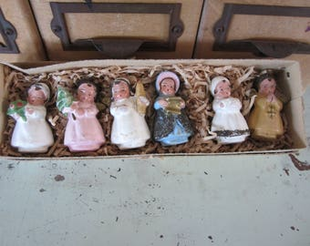 Vintage Miniature Doll Christmas Ornaments Set of 6 in Original Box Hand painted Small Girls Mica Embellished Western Germany