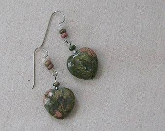 Unakite Heart Earrings, Green, Peach, Silver, Short