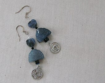 Blue Agate Buddha Earrings with Sodalite Hearts, Chinese Coins, Silver, Blue