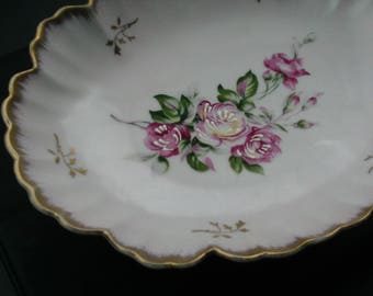 Lefton Pink Bowl with Pretty Pink Roses, Hand Painted, Shabby Chic, Gold Rim
