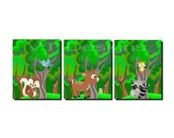 Woodland Nursery Wall Art, Forest Friends, Woodland Animals, Deer, Squirrel, Owl, Raccoon, Enchanted Forest, Canvas or Prints, Set of 3