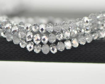 145pcs Crystal Glass Rondelle Faceted Tiny beads 2x3mm, Sparkly Metallic Clear Silver (#BZ03-58)