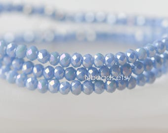 145pcs Crystal Glass Faceted Rondelle Tiny beads 2x3mm, Sparkly Opaque Blue AB (#BZ03-60)