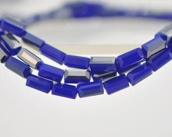 """Square Tube/ Long Cube Crystal Glass Faceted Stick Beads 6mm Blue Silver Grey (TS63-12)/ 17"""" strand"""