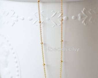 Gold plated Brass Bead Chains 1mm Thin, Tiny Decorative Designer Chains (#GB-125)/ 1 Meter=3.3 ft