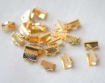 20pcs Gold Crimp End Tips, Leather Hemp or Cord End Caps 10x7mm, Gold plated Brass End Connector (GB-131)