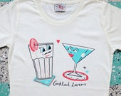 Cocktail Lovers Hand Screen Printed Organic Cotton Tee Shirt by Memo Illustration