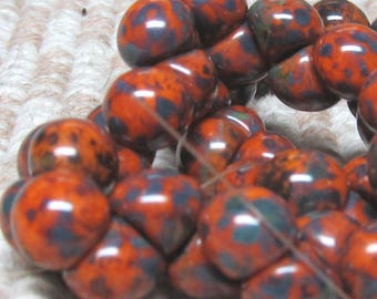 Czech Glass Beads 9 X 8mm Smooth shiny Gray Accented Burnt Orange Buttons - 30 Pieces