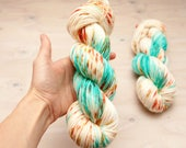 Hand dyed yarn - Superwash merino, DK, light worsted, yarn, hand dyed, dk yarn, speckles, blue, coral, orange, yellow