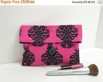 ON SALE Hot Pink Bridesmaid Gift, Makeup Bag, Damask Clutch, Pink and Black