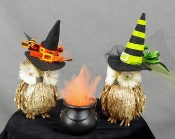 Halloween Owl Decor, Woodsy Owls with Witch Hats, Halloween Decoration, Halloween Mantel, Party Decor, Owl Decor