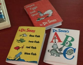 ON SALE Miniature Children's Books, Dr Seuss, Set of 3, One Fish, ABC and Green Eggs and Ham, Dollhouse Miniatures, 1:12 Scale