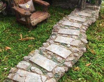 SALE Miniature Stone Walkway, Path, Weathered Stone Path, Fairy Garden Accessory, Miniature Home and Garden Decor