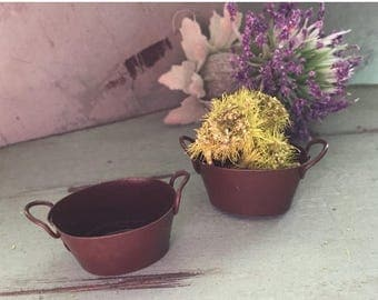 SALE Mini Miniature Metal Rust Colored Tub Packaged Set of 2 Pieces 1 Inch Fairy Garden Primitives Miniature Garden Accessory