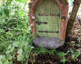 "SALE Miniature Door, ""Mystical Green Fairy Door"", #4590, Miniature Gardening, Fairy Garden Accessory, Home and Garden Decor, Garden Supply"