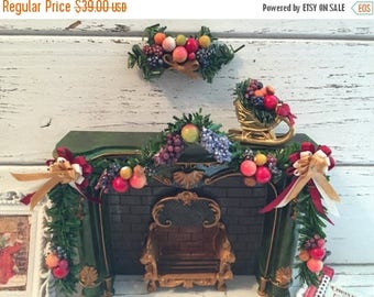 SALE Miniature Della Robbia Christmas Garland Set, Dollhouse 1:12 Scale Miniatures, Set Includes Fireplace Garland, Swag and Sled