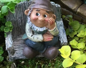 SALE Mini Sitting Garden Gnome Figurine, Fairy Gnome Garden Accessory, Miniature  Garden, Garden