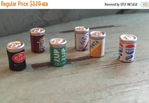 ON SALE Miniature Pop Soda Cans, Packaged Assortment Set, Dollhouse Miniatures, 1:12 Scale, Dollhouse Accessories, Pretend Drinks, Play Food